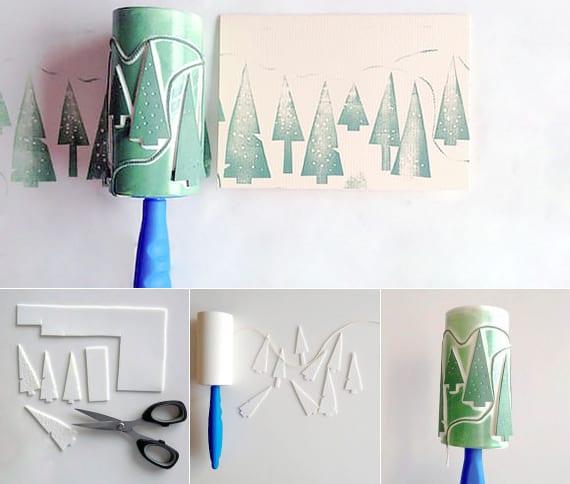 gechenkverpackung basteln mit tannenbaum-muster für kreative weihnachtsgeschenkverpackung