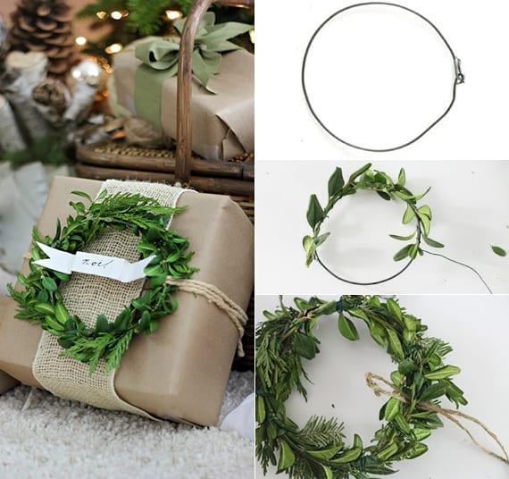 geschenke kreativ verpacken mit packpapier, Grün-Kranz, Rupfen und bindfaden
