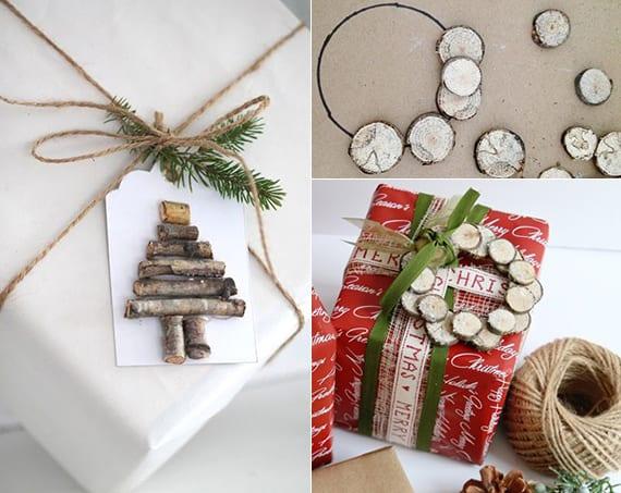kreative geschenk verpacken ideen mit Kranz- und Tannenbaum-Geschenkanhänger aus Holz