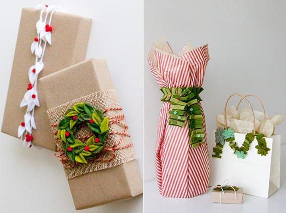weihnachtsgeschenke verpacken mit diy wintermotiven aus filz