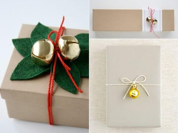 weihnachtliche geschenkverpackung mit mini-glocken