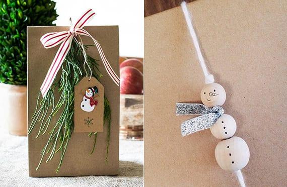 geschenke verpacken weihnachten mit diy Schneeman aus holzkugeln
