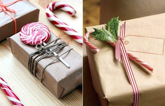 geschenke verpacken weihnachten mit weihnachtssüßigkeiten