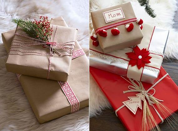 geschenke verpacken weihnachten mit rotem papier und packpapier