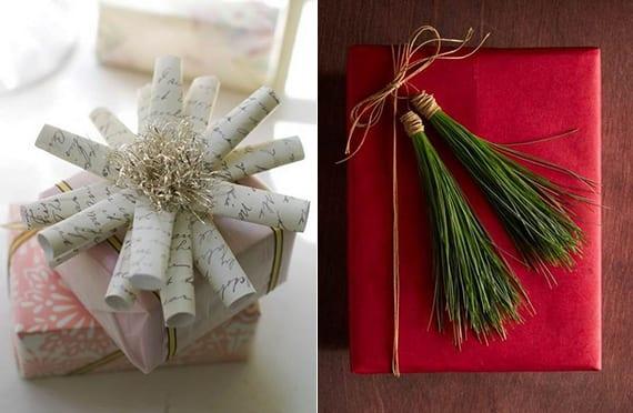 coole geschenkverpackungsideen mit kiefernnadeln und gerolltem papier