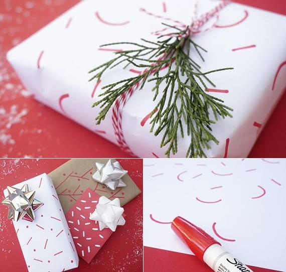 weihnachtsgeschenke verpacken mit DIY Geschenkpapier, Tannenbaumgrün und Bindfaden rot-weiß