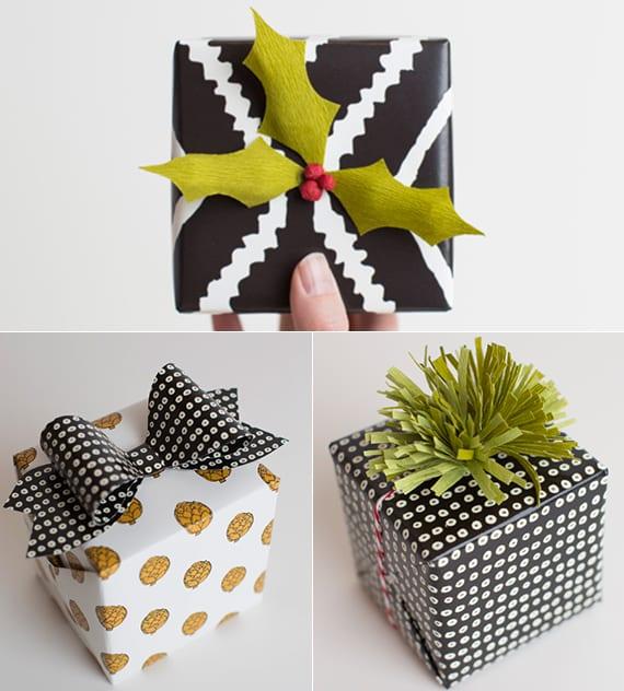 weihnachtsgeschenke verpacken mit schwarz-weißem geschenkpapier