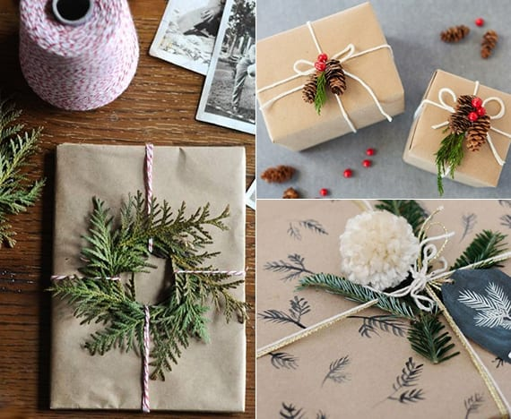 geschenke verpacken weihnachten mit packpapier, zapfen, bommel, faden und tannengrün