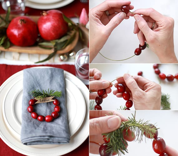 servietten originell und weihnachtlich falten mit diy serviettenring und platzkarte aus preiselbeeren