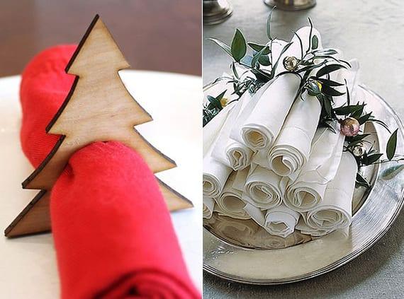 servietten falten zu weihnachten und mit diy Tannenbaum-Holzserviettenring halten