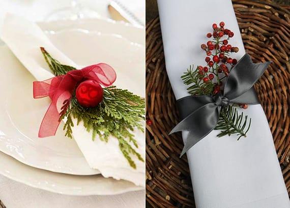 servietten weihnachtlich falten und dekorieren mit schleife, immergrün und roten kugeln oder beeren