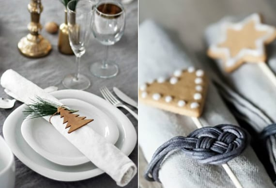 servietten falten weihnachten mit Fischerknoten-Serviettenring und weihnachtsplätzchen auf stab