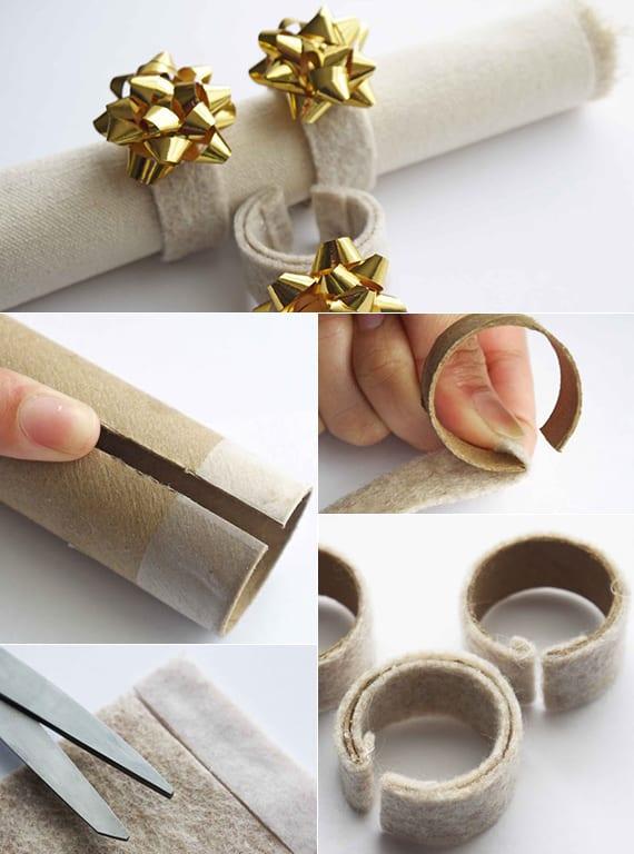 tisch festlich decken und stoffservietten falten zu weihnachten mit coolen DIY Serviettenringen aus papprolle und filz