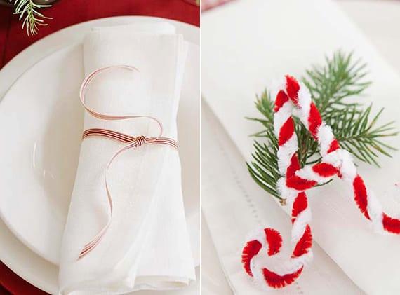serviette weihnachtlich falten mit rotem stoffband oder mit diy initialen