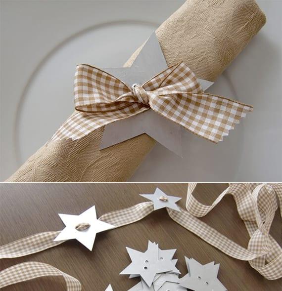 servietten weihnachtlich falten mit schleife und Stern aus Papier