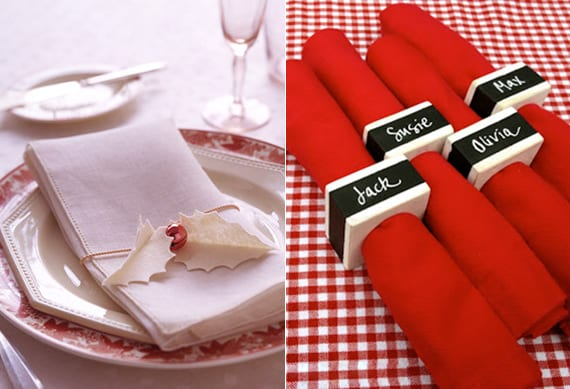 serviette falten mit serviettenring als weihnachtsmann und weiße stoffservietten halten mit DIY blätter von Stechpalme