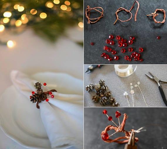 servietten falten weihnachten mit diy Serviettenringen aus Bindfaden und Glaskugeln