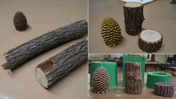 Holzstumpf kerzen selber machen_coole Idee zum basteln mit Holz und zapfen