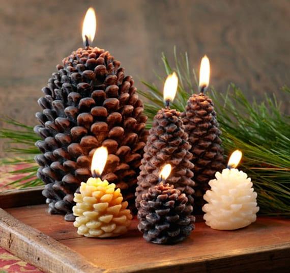 zapfen kerzen machen mittels silikonformen_coole Bastelidee für originelle DIY Weihnachtsdeko