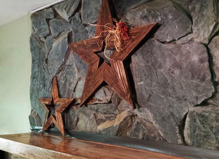 weihnachtliche kamindeko mit diy sternen aus holz