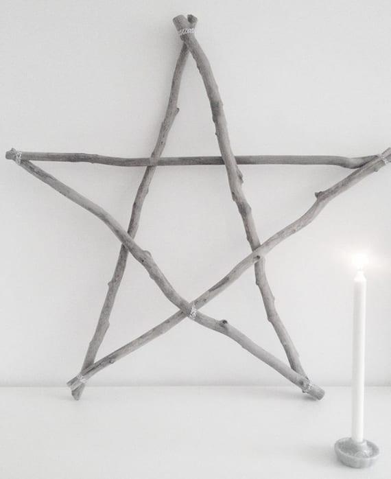 wie kann ich einen stern aus zweigen basteln_coole rustikale sterndeko zu weihnachten selber machen