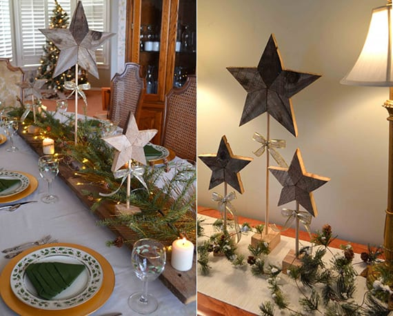 tisch weihnachtlich dekorieren mit DIY Stern-Tischdeko aus holz, lichterkette, kerzen und tannenbaumgrün