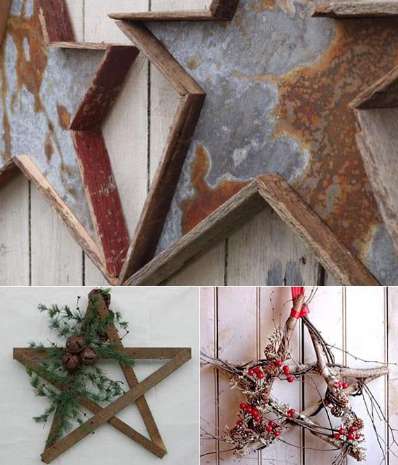 gartenmauer und innenwände kreativ dekorieren mit selbstgemachten holzsternen
