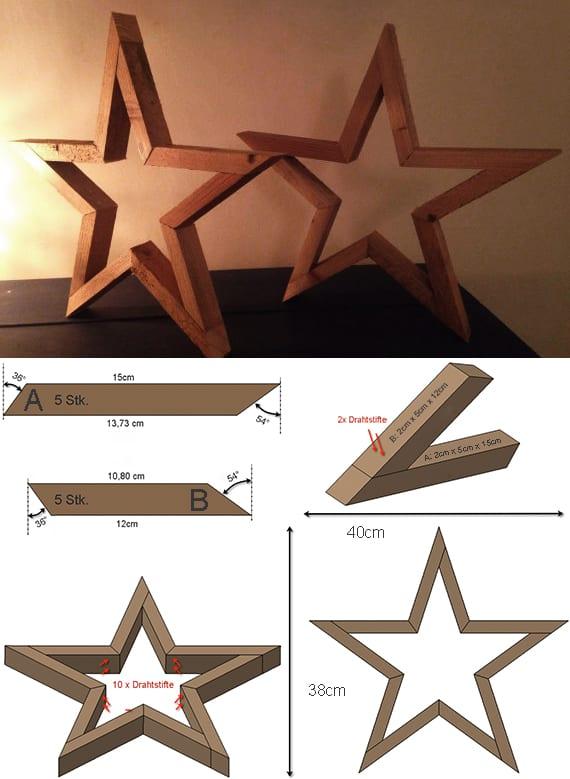 stern aus holzlatten basteln als kreative DIY Tischdeko_holzstern selber machen anleitung
