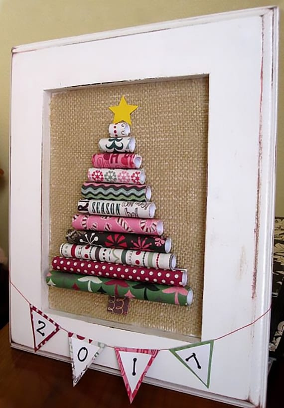 weihnachtsbild basteln mit diy Tannenbaum aus gerolltem Papier