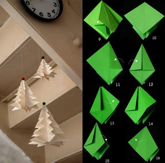 weihnachtlich dekorieren mit DIY Tannenbaum-Hängedekoration aus Papier