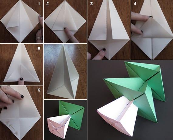 coole weihnachtsdeko mit selbstgefaltetem Origami Tannenbaum