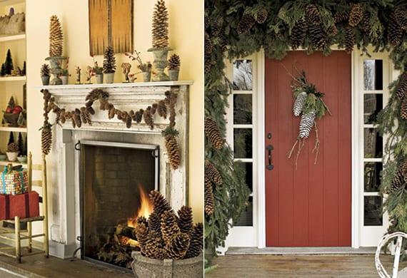 coole winterdeko und weihnachtsdeko mit diy Girlande aus großen Zapfen und Tannenbaumgrün