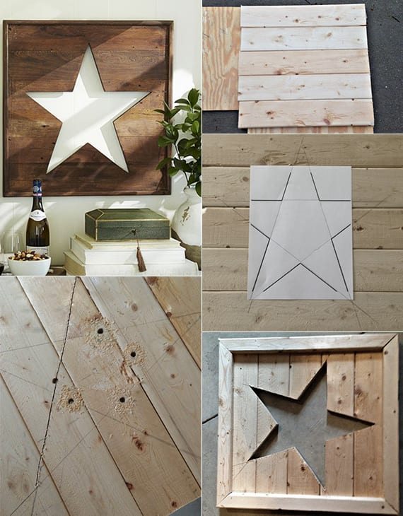 wand dekorieren mit diy Stern-Bild aus Holzbrettern_rustikale wanddeko basteln mit holz