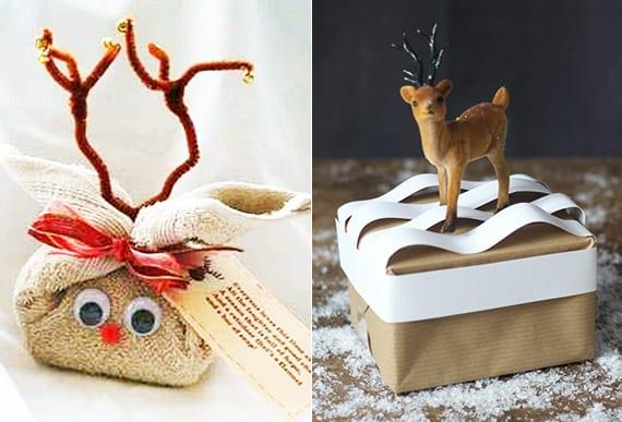 originelle geschenkverpackung basteln mit handtuch und geschenkbox verpacken mit kleinen figuren und spielzeugen
