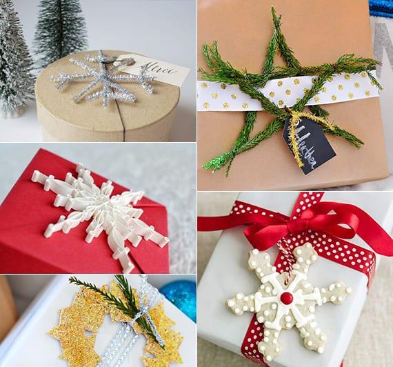 weihnachtsgeschenke verpacken mit diy Stern-Motiv aus papier, tannenbaumgrün und plätzchen
