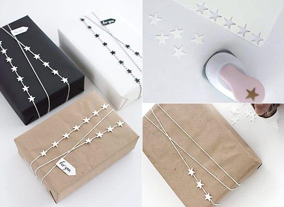 einfache Geschenkverpackung basteln mit sternen aus papier
