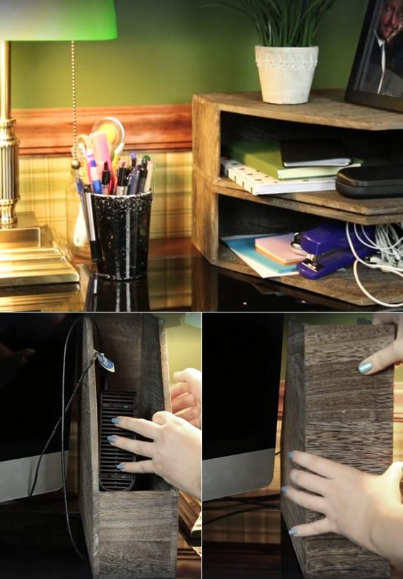 schreibtisch aufräumen durch diy Regal aus zeitschriftsammler