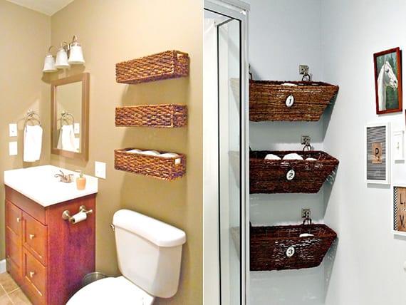 kleines bad in ordnung halten mit diy wandregalen aus weidenkörben für aufbewahrung von tüchern