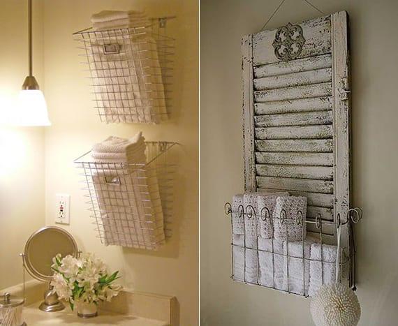 hand- und badetücher organisieren in drahtkärben an der wand und in diy tuchregals aus holzfensterladen und draht