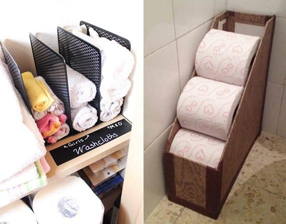 ordnung schaffen im badezimmer durch die aufbewahrung von wc-papierrollen und handtüchern in zeitschriftensammler