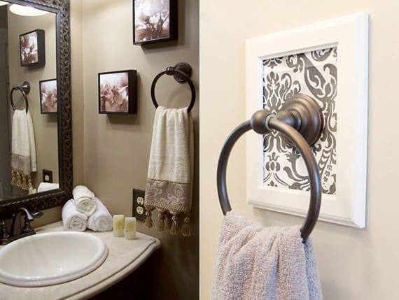 kreative wandgestaltung badezimmer mit Handtuchringen