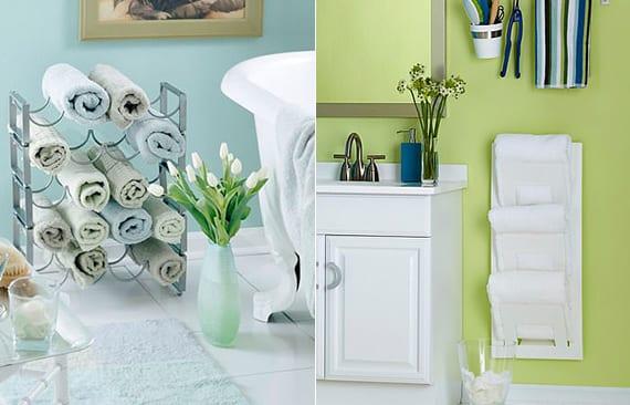 originelle organisationsideen für hand- und badetücher in kleinen badezimmern