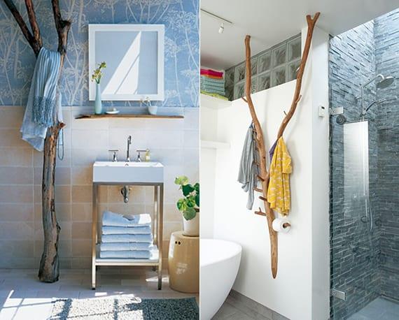 moderne badgestaltungsideen mit diy tuchhalter aus holz_baumast-handtuchhalter basteln aus baumästen