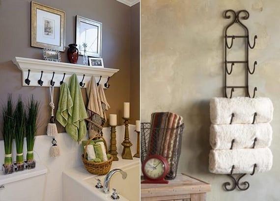 hand- und badetücher organisieren mithilfe von leiste mit haken und weinregal für wand