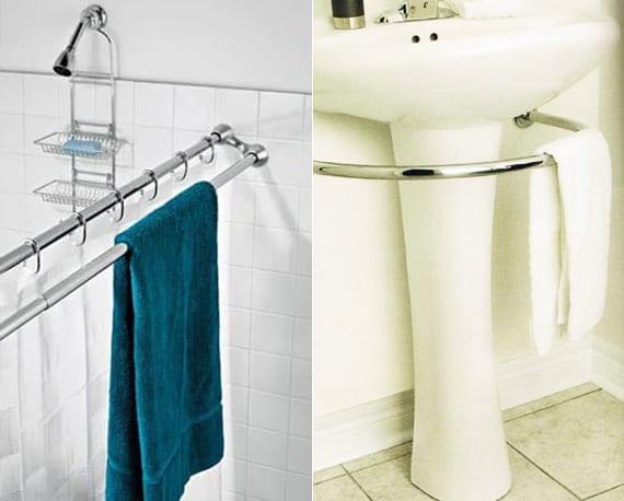kleines badezimmer platzsparend ausstatten mit doppel-duschstange für badetücher und waschbecken mit handtuchhalter