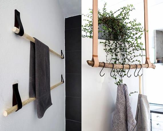 moderne hänge-tuchhalter selber basteln mit runden holzstäben und leder um bad in ordnung zu halten