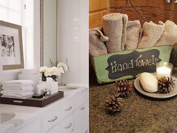 coole organisationsideen für handtücher auf dem Waschtisch
