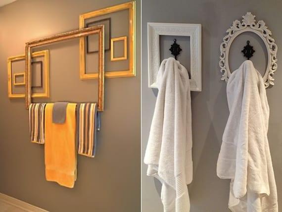 coole badgestaltung mit bildderrahmen als DIY badetuchhalter und wanddeko um bademantelhaken