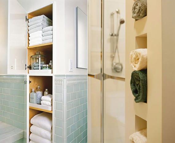 wandnischen und eingebaute badschränke als platzsparende organisationsideen für badetücher