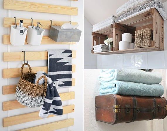 hand- und badetücher organisieren in holzkisten an der wand_originelle gestaltungsideen badezimmer